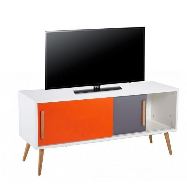 Beaux Meubles Pas Chers Meuble Tv Blanc Vintage Orange et Gris