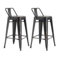 Moloo - Lot de 2 Tabourets de bar 4 pieds métal finition noir vieilli Iron avec Dossier
