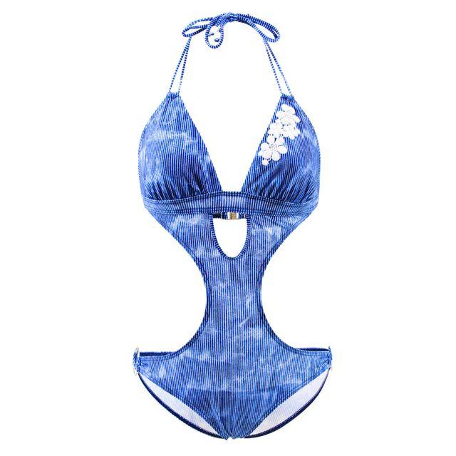 Emmatika Maillot de bain Trikini Denim Triki Bleu