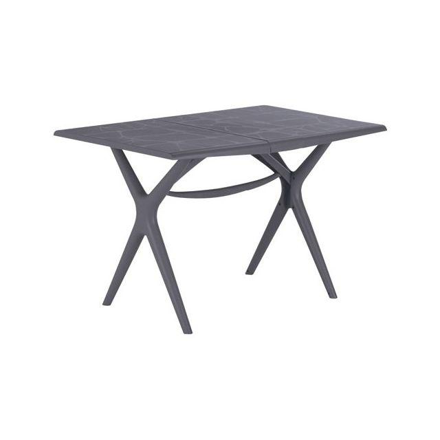 Grosfillex - Table de jardin Sigma pliante - 115x75 cm - gris souris ...