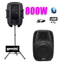 """Gemini - Enceinte amplifiée Boomer 15"""" 800W Usb Bt + pied"""