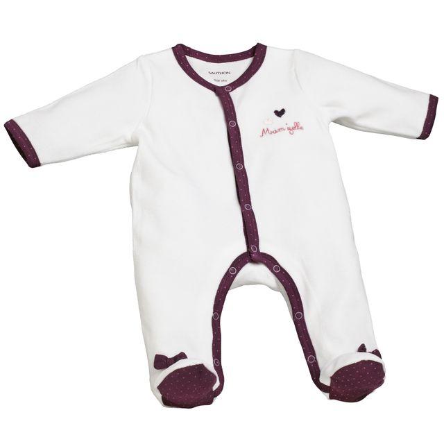 Sauthon - Pyjama bébé blanc violet naissance Mam zelle Bou - pas cher Achat    Vente Pyjamas 8a858f1531f