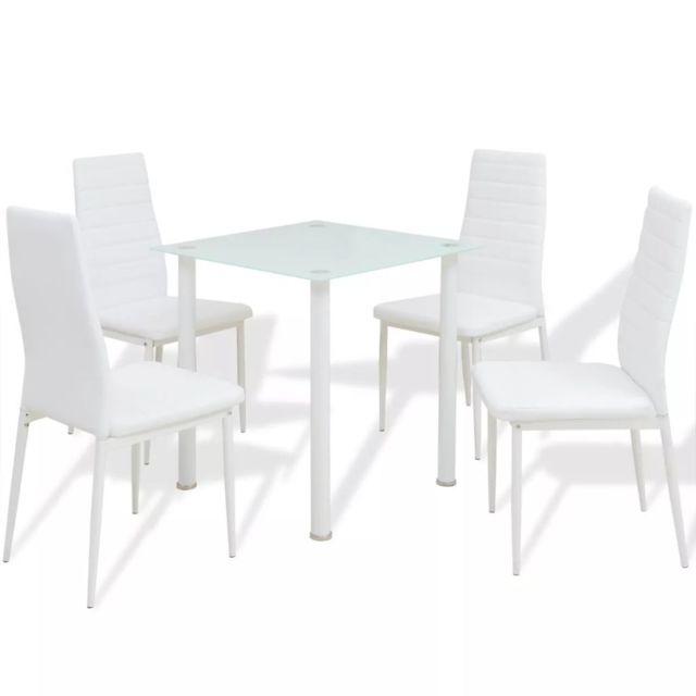 Joli Ensembles de meubles reference Pékin Ensemble de meuble de salle à manger 5 pièces Blanc