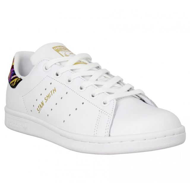 Adidas - Stan Smith X The Farm Company cuir Femme-37 1/3-. Couleur : Blanc
