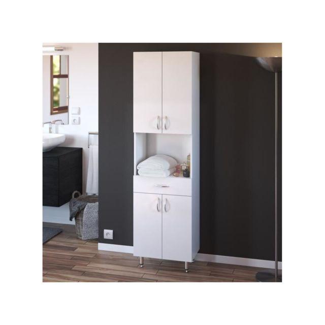 ARMANDO Armoire de salle de bain L 50 cm - Blanc Mat - pas ...