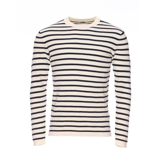 44597bfb7f27 Selected - Pull col rond beige à rayures bleu marine XXL - pas cher ...