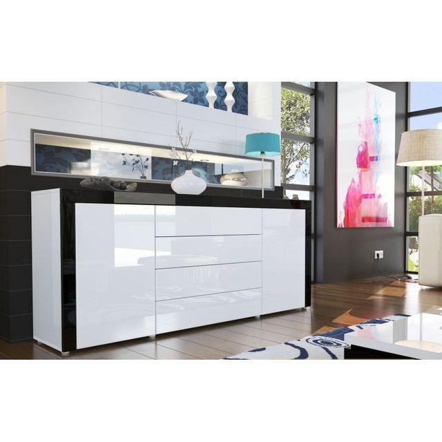 Mpc - Buffet design laqué blanc/blanc/noir - pas cher Achat / Vente ...