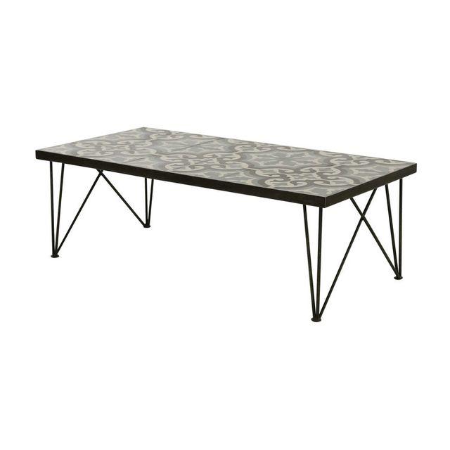 Table basse avec plateau en carreaux de ciment et métal L120 cm CHIC