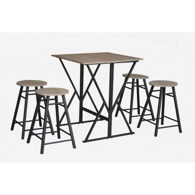 Topdeco Table Haute Pliable 4 Tabourets Piana Pas Cher Achat