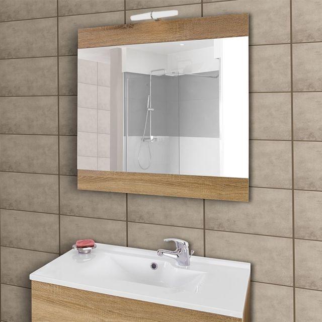 Creazur Miroir Avec Applique Led Lumineuse Mirosa 80 Cm Bois
