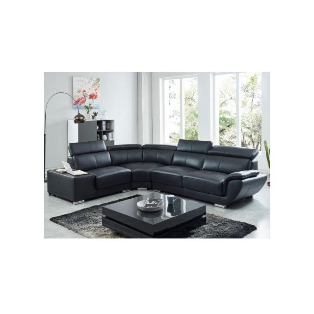 Canapé d'angle en cuir NAHIA - Noir - Angle gauche
