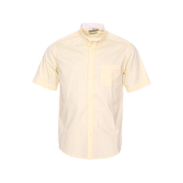 68301e849fbe6 Gentleman Farmer - Chemise droite manches courtes Claude en coton jaune  pâle - pas cher Achat / Vente Chemise homme - RueDuCommerce