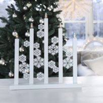 Xmas Living Glass - Snowfall - Chandelier Led Flocons Bois blanc H48cm - Lampe à poser designé par