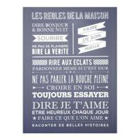 """Paris Prix - Toile Imprimée """"Maison"""" 58x78cm Bleu"""
