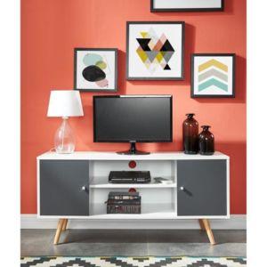 No name babette meuble tv 116 cm blanc et gris fonc for Meuble tv gris fonce