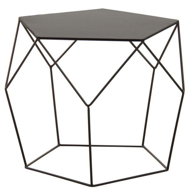 AUBRY GASPARD Table basse design en métal noir