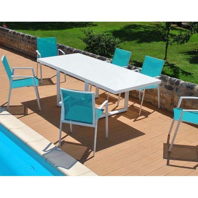 Table De Jardin Moderne.Salon De Jardin Moderne Bleu 6 Personnes Cyclades
