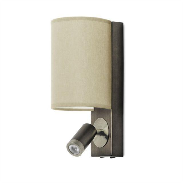 Leds C4 Applique Buc avec liseuse, acier patiné et bronze, avec abat-jour gris
