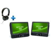 MUSE - Lecteur DVD M-990 CVB pour voiture double écran 9 + Casque audio