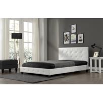 CONCEPT USINE - Lit Notting Hill 160x200cm - Cadre de lit en simili cuir capitonné Blanc