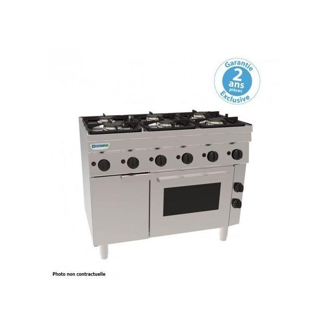 Materiel Chr Pro Fourneau 4 feux avec four électrique ventilé - grilles 400 x 330 mm - gamme 600 - Tecnoinox - 600