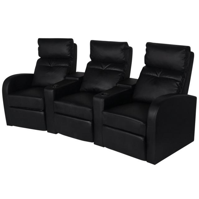 Rocambolesk Superbe Canapé inclinable Cinéma maison 3 sièges en cuir synthétique Noir neuf