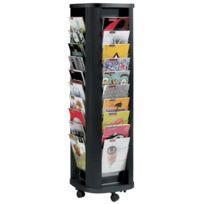 Paperflow - Présentoir mobile carrousel de 40 cases en polystyrène