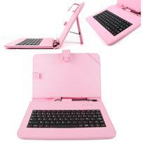 Duragadget - Etui rose + clavier Azerty français pour tablette 10.1 pouces