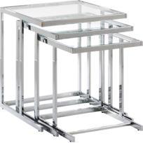 COMFORIUM - Set de 3 tables gigogne design avec plateau en verre trempé et pieds en acier chromé