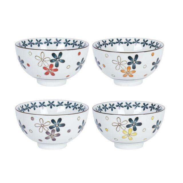Table Passion Bol en porcelaine D.11 cm motif floral - Coffret de 4 pièces Hana