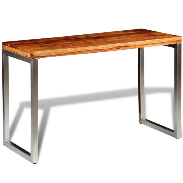 Rocambolesk Superbe Bureau Table à manger en bois de palissandre avec pieds en acier neuf