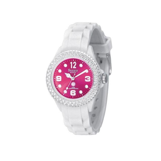 meilleur service f3896 7a053 Montre Étanche Sunny Watch Crystal, Blanche/Cadran Rose 2458