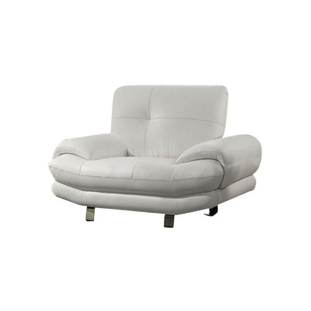 La Maison Du CanapÉ Fauteuil Cuir Swan - {habillage_canape_cuir} - Blanc