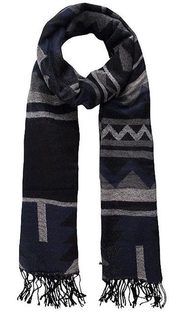 avant-garde de l'époque texture nette esthétique de luxe Pieces - Écharpe Bleu Marine et Noir Pcvigga Ethnique ...