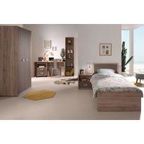 comforium ensemble complet 6 pices pour chambre moderne avec lit 90x200 cm chevet armoire - Portes De Placard Coulissantes Brico Depot2557