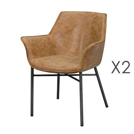 Lot de 2 fauteuils en Pu marron avec piétement métal gris brossé