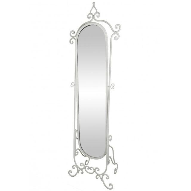 L'HÉRITIER Du Temps Grand Miroir Psyché sur Pied Glace Orientable Meuble de Chambre ou Salle de Bain en Fer Blanc 34x53x175cm