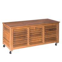 ma maison mes tendances coffre de rangement avec 4 roues en bois dacacia - Banc Coffre De Jardin
