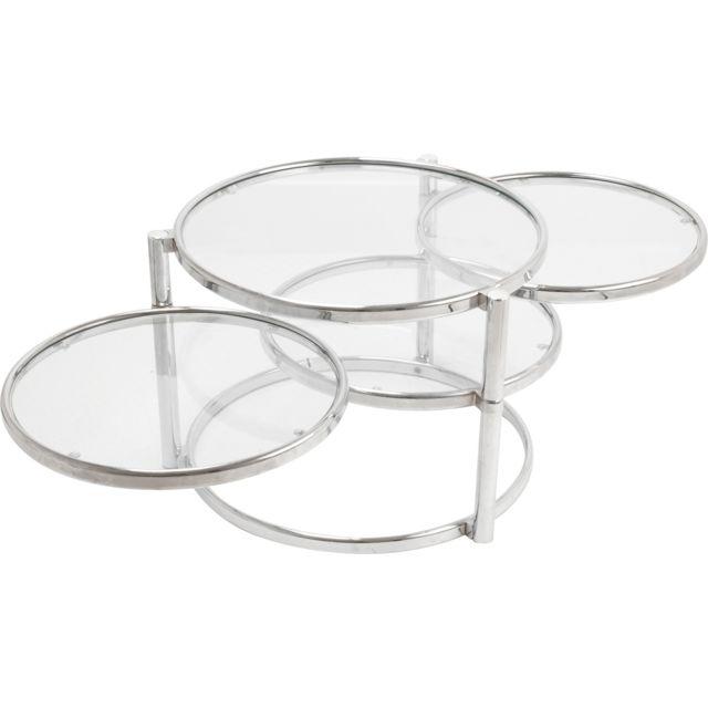 LEITMOTIV Table basse plateaux pivotants en verre