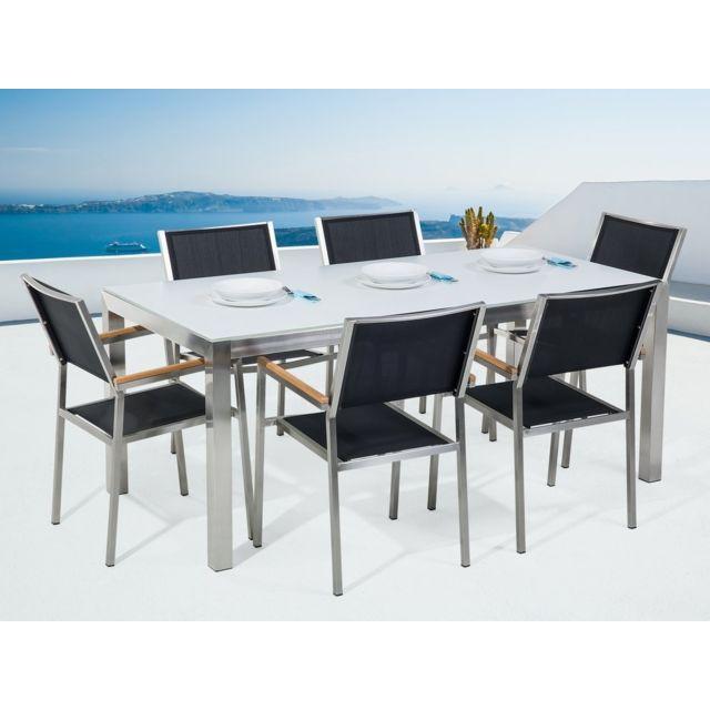BELIANI - Ensemble de jardin table en verre blanche et 6 chaises ...