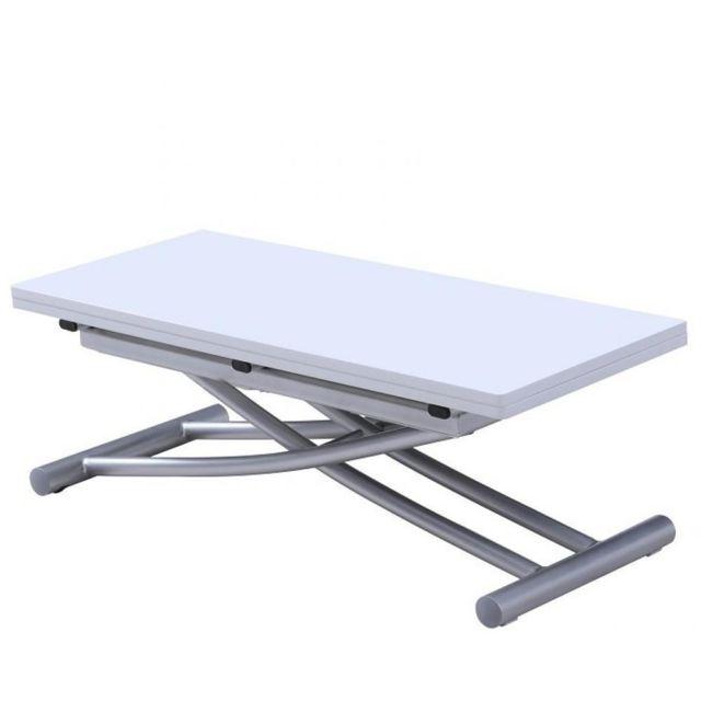 Inside 75 Table relevable extensible Colibri ultra compacte laquée blanc 90 45 cm