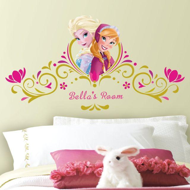 Stickers Geant Tete De Lit Personnalisable La Reine Des Neiges Disney