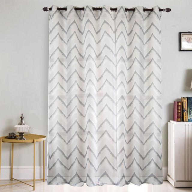 best interior voilage grande largeur zigzag blanc gris. Black Bedroom Furniture Sets. Home Design Ideas