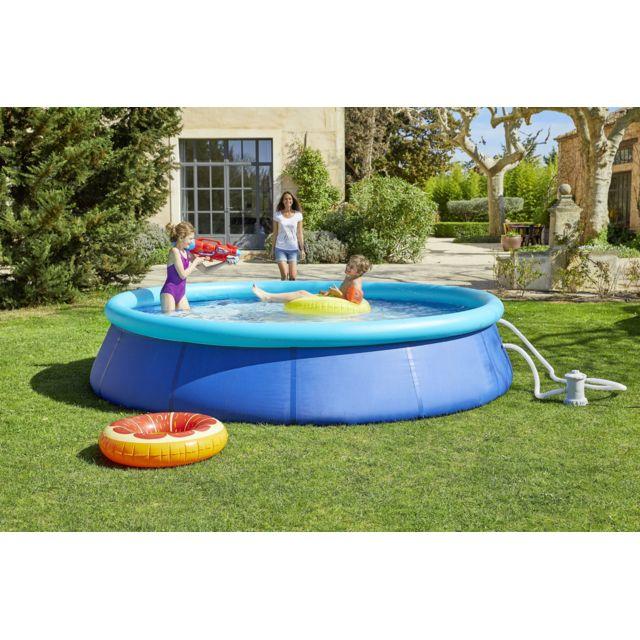 carrefour piscine autostable miami dia 376 x h 84 cm ronde x pas cher achat. Black Bedroom Furniture Sets. Home Design Ideas