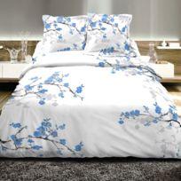 Best Interior - Parure de couette 100% coton cerisier Sakura - bleu - housse-de-couette-200x200-cm