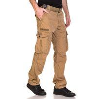 Deeluxe - Pantalon homme cargo camel avec ceinture