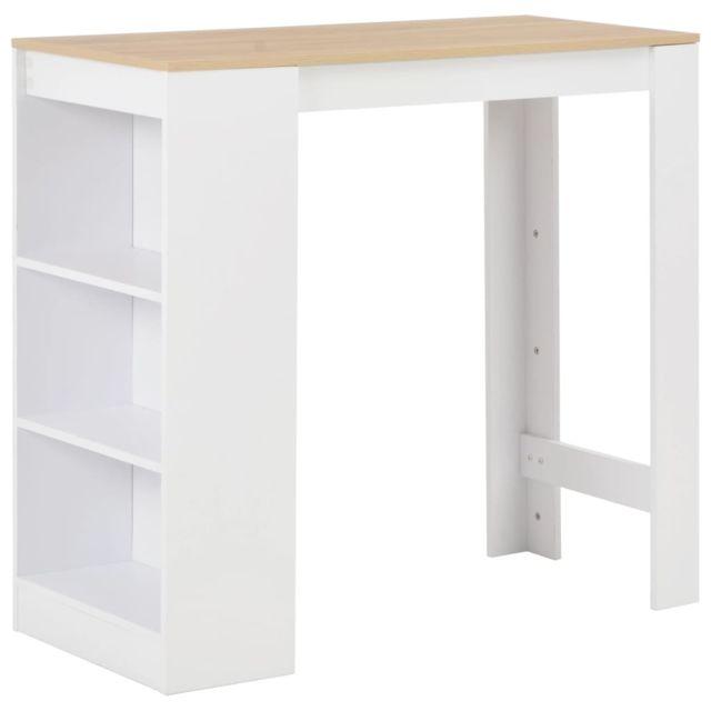 Admirable Tables serie Tbilissi Table de bar avec étagère Blanc 110x50x103 cm