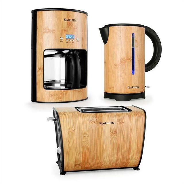 KLARSTEIN Bamboo Garden Set petit-déjeuner machine à café bouilloire grille-pain
