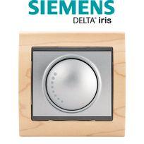 Siemens - Va et Vient Variateur 500W Silver Delta Iris + Plaque Bois Hetre