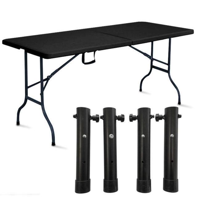 MOBEVENTPRO Table pliante noire avec 4 réhausses